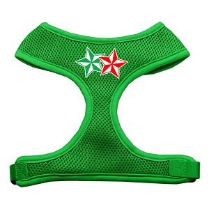 Double Holiday Star Screen Print Mesh Harness Emerald Green Extra Large