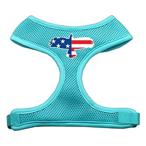 Eagle Flag Screen Print Soft Mesh Harness Aqua Large