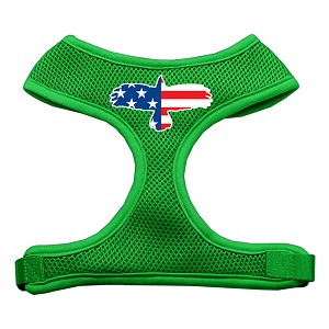 Eagle Flag Screen Print Soft Mesh Harness Emerald Green Small
