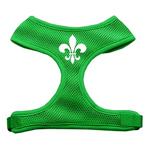 Fleur de Lis Design Soft Mesh Harnesses Emerald Green Small