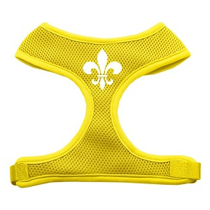 Fleur de Lis Design Soft Mesh Harnesses Yellow Medium
