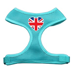 Heart Flag UK Screen Print Soft Mesh Harness Aqua Small