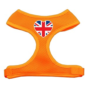 Heart Flag UK Screen Print Soft Mesh Harness Orange Large