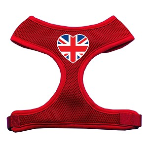 Heart Flag UK Screen Print Soft Mesh Harness Red Small