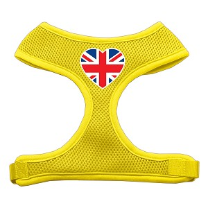 Heart Flag UK Screen Print Soft Mesh Harness Yellow Small