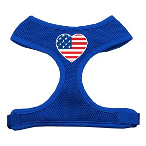 Heart Flag USA Screen Print Soft Mesh Harness Blue Extra Large