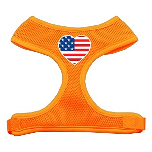 Heart Flag USA Screen Print Soft Mesh Harness Orange Medium