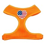 Heart Flag USA Screen Print Soft Mesh Harness Orange Extra Large