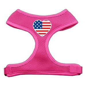 Heart Flag USA Screen Print Soft Mesh Harness Pink Large