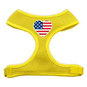 Heart Flag USA Screen Print Soft Mesh Harness Yellow Extra Large