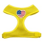 Heart Flag USA Screen Print Soft Mesh Harness Yellow Large