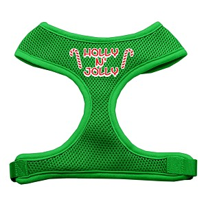 Holly N Jolly Screen Print Soft Mesh Harness Emerald Green Small