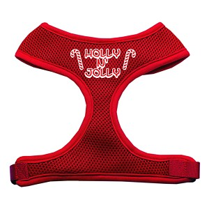 Holly N Jolly Screen Print Soft Mesh Harness Red Extra Large
