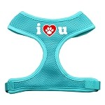 I Love U Soft Mesh Harnesses Aqua Small