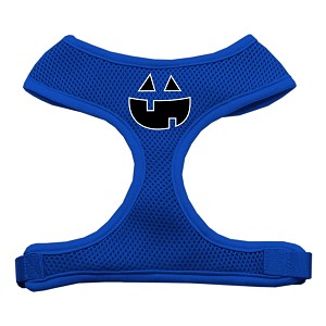 Pumpkin Face Design Soft Mesh Harnesses Blue Medium