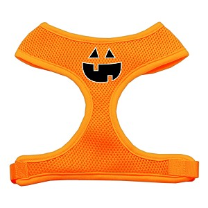 Pumpkin Face Design Soft Mesh Harnesses Orange Extra Large