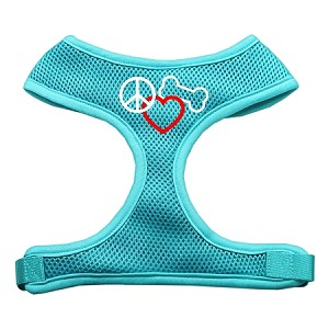 Peace, Love, Bone Design Soft Mesh Harnesses Aqua Large