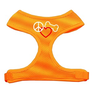 Peace, Love, Bone Design Soft Mesh Harnesses Orange Extra Large