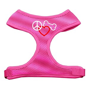 Peace, Love, Bone Design Soft Mesh Harnesses Pink Medium