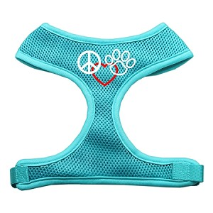 Peace, Love, Paw Design Soft Mesh Harnesses Aqua Large