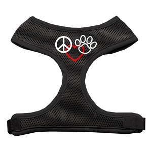 Peace, Love, Paw Design Soft Mesh Harnesses Black Small