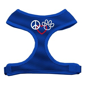 Peace, Love, Paw Design Soft Mesh Harnesses Blue Large