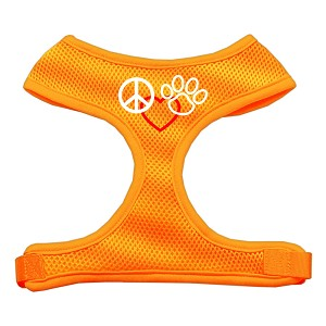 Peace, Love, Paw Design Soft Mesh Harnesses Orange Small