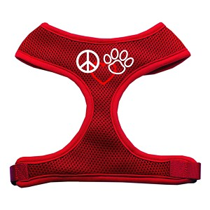 Peace, Love, Paw Design Soft Mesh Harnesses Red Medium