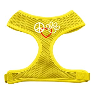 Peace, Love, Paw Design Soft Mesh Harnesses Yellow Large