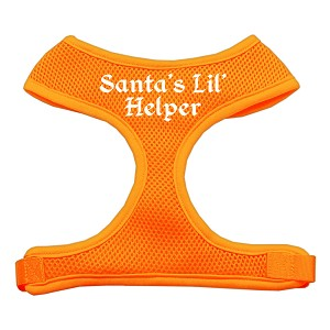 Santa's Lil Helper Screen Print Soft Mesh Harness Orange Small