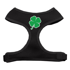 Shamrock Screen Print Soft Mesh Harness Black Medium