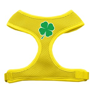 Shamrock Screen Print Soft Mesh Harness Yellow Large