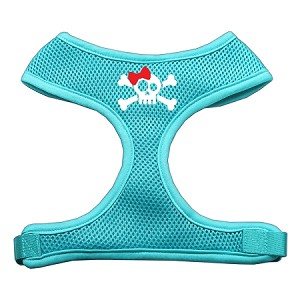 Skull Bow Screen Print Soft Mesh Harness Aqua Small