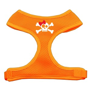 Skull Bow Screen Print Soft Mesh Harness Orange Small