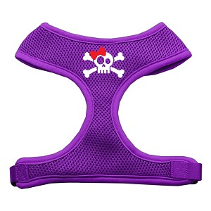 Skull Bow Screen Print Soft Mesh Harness Purple Extra Large