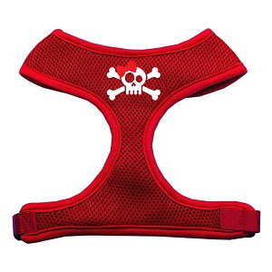 Skull Bow Screen Print Soft Mesh Harness Red Large