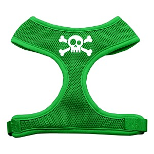 Skull Crossbones Screen Print Soft Mesh Harness Emerald Green Small