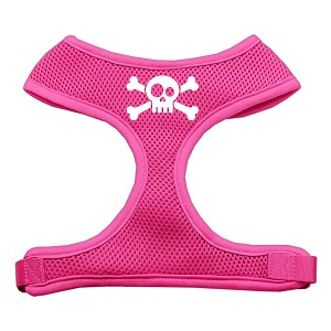 Skull Crossbones Screen Print Soft Mesh Harness Pink Large