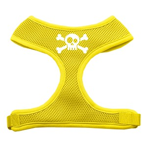 Skull Crossbones Screen Print Soft Mesh Harness Yellow Large