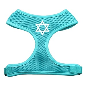 Star of David Screen Print Soft Mesh Harness Aqua Small