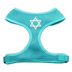 Star of David Screen Print Soft Mesh Harness Aqua Extra Large