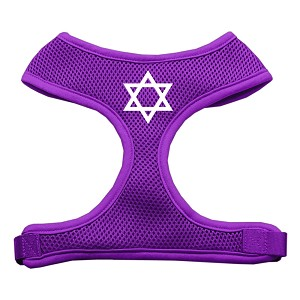 Star of David Screen Print Soft Mesh Harness Purple Large