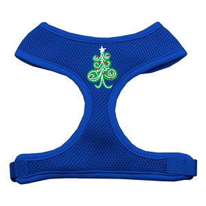 Swirly Christmas Tree Screen Print Soft Mesh Harness Blue Extra Large