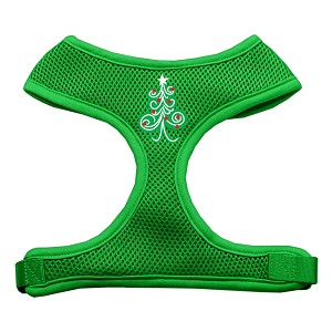 Swirly Christmas Tree Screen Print Soft Mesh Harness Emerald Green Extra Large