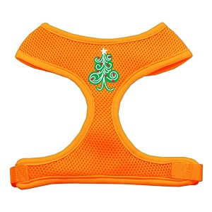 Swirly Christmas Tree Screen Print Soft Mesh Harness Orange Extra Large