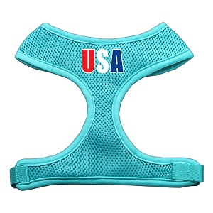 USA Star Screen Print Soft Mesh Harness Aqua Large