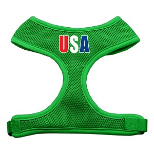 USA Star Screen Print Soft Mesh Harness Emerald Green Extra Large