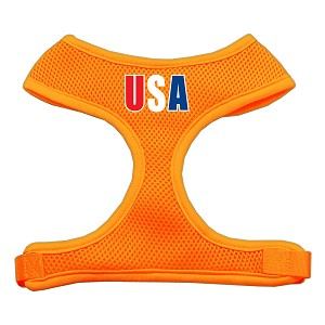 USA Star Screen Print Soft Mesh Harness Orange Extra Large