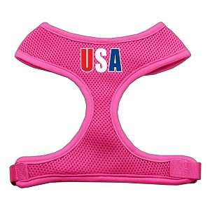 USA Star Screen Print Soft Mesh Harness Pink Large