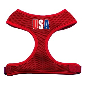 USA Star Screen Print Soft Mesh Harness Red Small